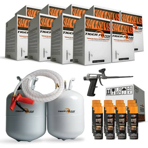 9 Tiger Foam 600 Bd/Ft E-84 Fast Rise Spray Foam Insulation Kits